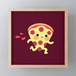 Cute running pizza slice Framed Mini Art Print