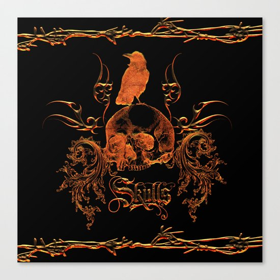 Skull with crow  Canvas Print