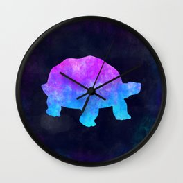 TORTOISE IN SPACE // Animal Graphic Art // Watercolor Canvas Painting // Modern Minimal Cute Wall Clock
