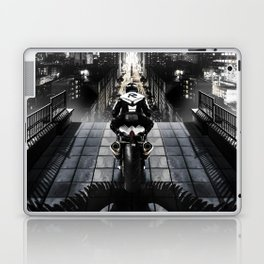 Poster with a biker on a motorcycle in the form of an angel looking into the distance of the urban v Laptop & iPad Skin