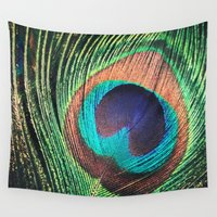 peacock feather Wall Tapestries featuring Peacock Feather by Louisa Corbett
