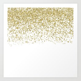 Sparkling gold glitter confetti on simple white background - Pattern Art Print