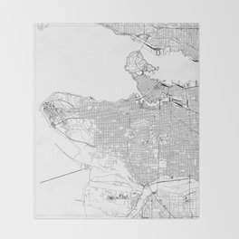 Vancouver White Map Throw Blanket