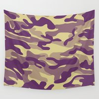 military Wall Tapestries featuring Purple Military Camouflage Pattern by SW Creation