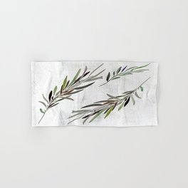 Eucalyptus Leaves White Hand & Bath Towel
