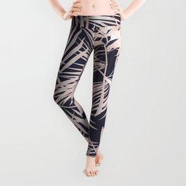 Whisper-Pink Palm Leaves Pattern Leggings