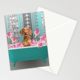 Bathtub with Weimaraner and Lotus Flowers Stationery Cards