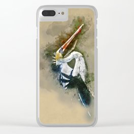 Watercolor Brown Pelican Clear iPhone Case