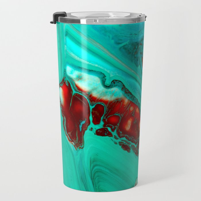Turquoise abstract Travel Mug