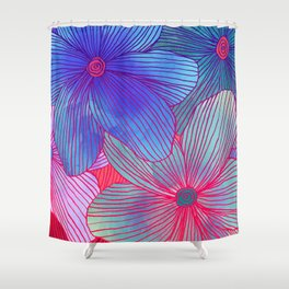 Between the Lines 2 - tropical flowers in purple, pink, blue & orange Shower Curtain