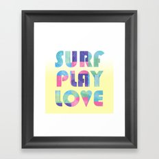 Surf Play Love Framed Art Print