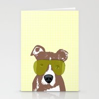 pit bull Stationery Cards featuring American Pit Bull Terrier by ialbert