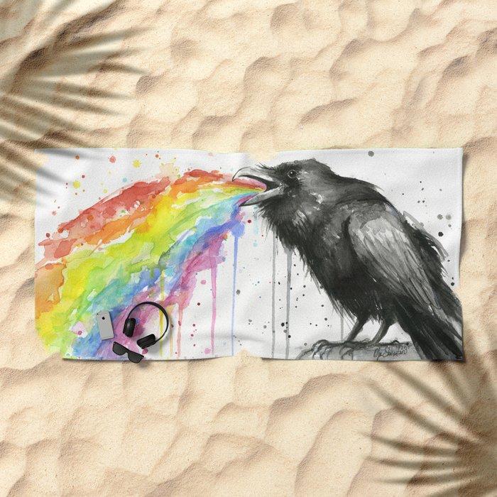 Raven Tastes the Rainbow Beach Towel