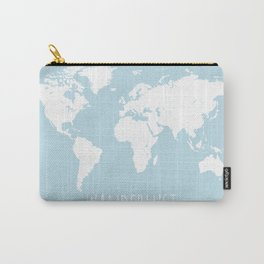 World Map - Wanderlust Quote - Modern Travel Map in Light Blue With White Countries Carry-All Pouch