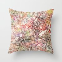 mexico Throw Pillows featuring Mexico by MapMapMaps.Watercolors