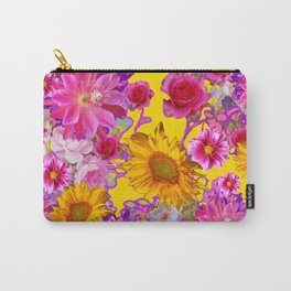 GOLDEN FLORAL TAPESTRY OF ASSORTED PINK  FLOWERS Carry-All Pouch