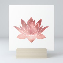 Pink Lotus Flower | Watercolor Texture Mini Art Print