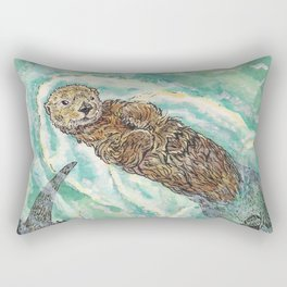 Two Otters Rectangular Pillow