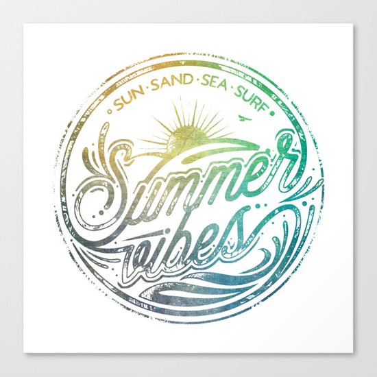 Summer vibes - typo artwork Canvas Print