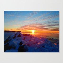 Sunset and Wind turbines Canvas Print