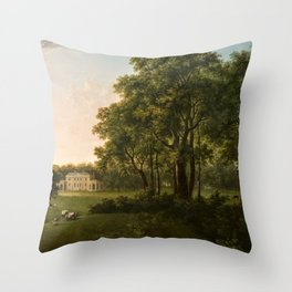 Classical Masteripiece 'A View of the South Front of Bower House, Havering-atte-Bower' by Abraham Pe Throw Pillow