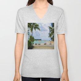 A Dreamy Day at a Tahitian Beach, Bora Bora Unisex V-Neck