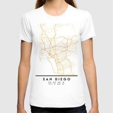 SAN DIEGO CALIFORNIA CITY STREET MAP ART SMALL White Womens Fitted Tee
