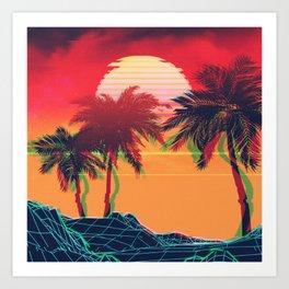 Vaporwave landscape with rocks and palms Art Print