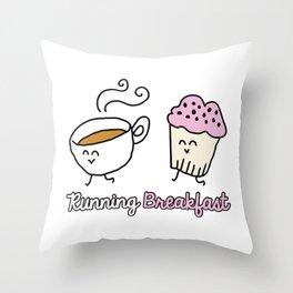 Running Breakfast Throw Pillow