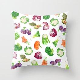 Veggies illustrations pattern | Watercolor farm veggies | Vegan pattern Throw Pillow