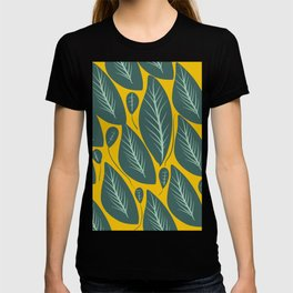 Green Leaves and Yellow Pattern Nature Design T-shirt