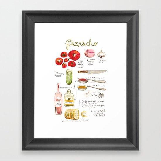 illustrated recipes: gazpacho Framed Art Print