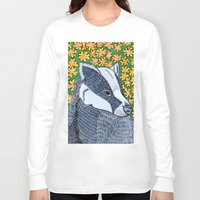 badger Long Sleeve T-shirts featuring Badger Badger Badger by Lorraine Stylianou