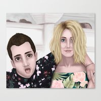 jenna kutcher Canvas Prints featuring Tyler and Jenna by Greenteaelf