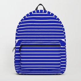 Royal Blue and White Horizontal Stripes Backpack