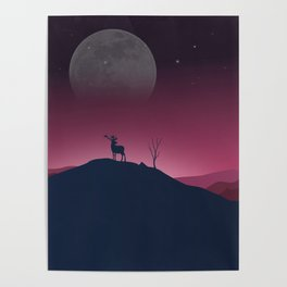 Lone Deer On A Bright, Cold Night Poster