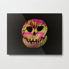 Glow Skull pink & gold Metal Print