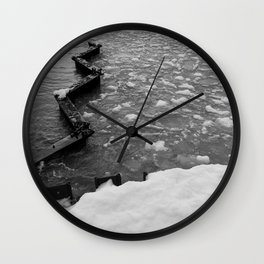 Ice in Point Betsie Lighthouse beach black and white Wall Clock