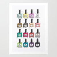 nail polish Art Prints featuring Nail Polish-holic by uzualsunday