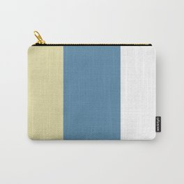 BEACH THEME TRIPLE THICK STRIPES - SAND YELLOW - GREY BLUE AND WHITE  Carry-All Pouch