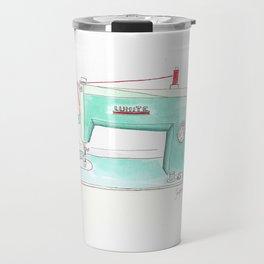 Vintage White 43-8 Sewing Machine in Aqua Travel Mug
