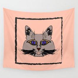 Cute gray cat. Muzzle cartoon cat in a box. Wall Tapestry