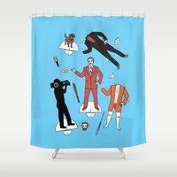 anchorman Shower Curtains featuring Cut It Out: Ron Burgundy by cudatron