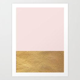 Color Blocked Gold & Rose Art Print