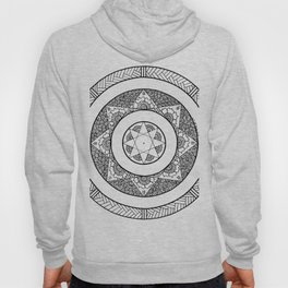 Flower Star Mandala - White Black Hoody