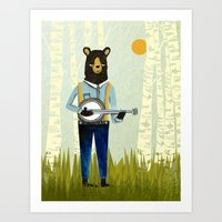 banjo Art Prints featuring Bear's Bourree - Bear Playing Banjo by Prelude Posters