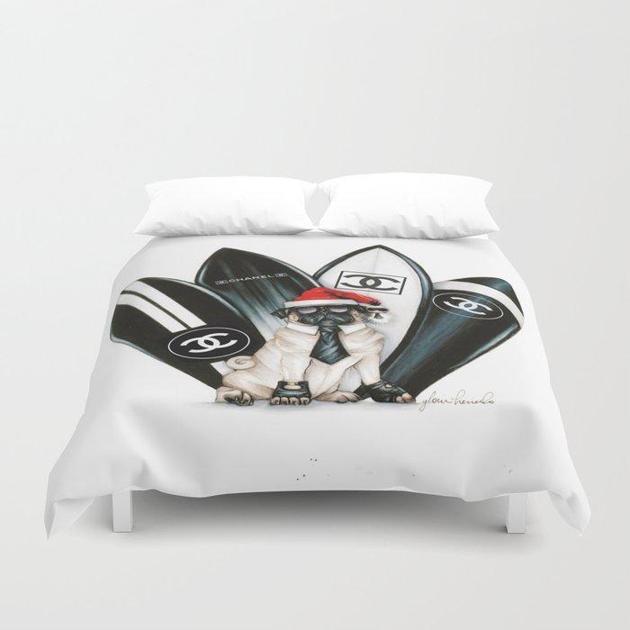 Santa Pug Lagerfeld  Duvet Cover