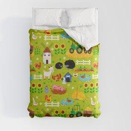 Farm Life Barn Animals Tractor Green Pattern Comforters