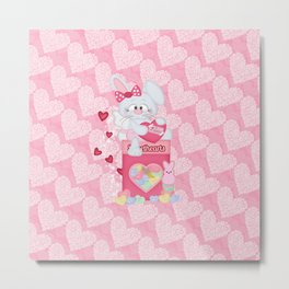 Valentines Bunny and Sweet Heart Candy Metal Print
