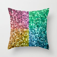 RGBY Triangle Grunge Throw Pillow